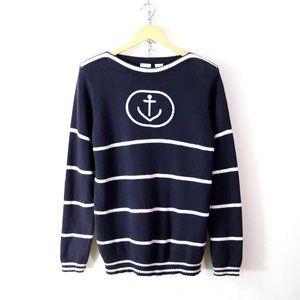 vintage 90s nautical anchor stripe sweater S/M